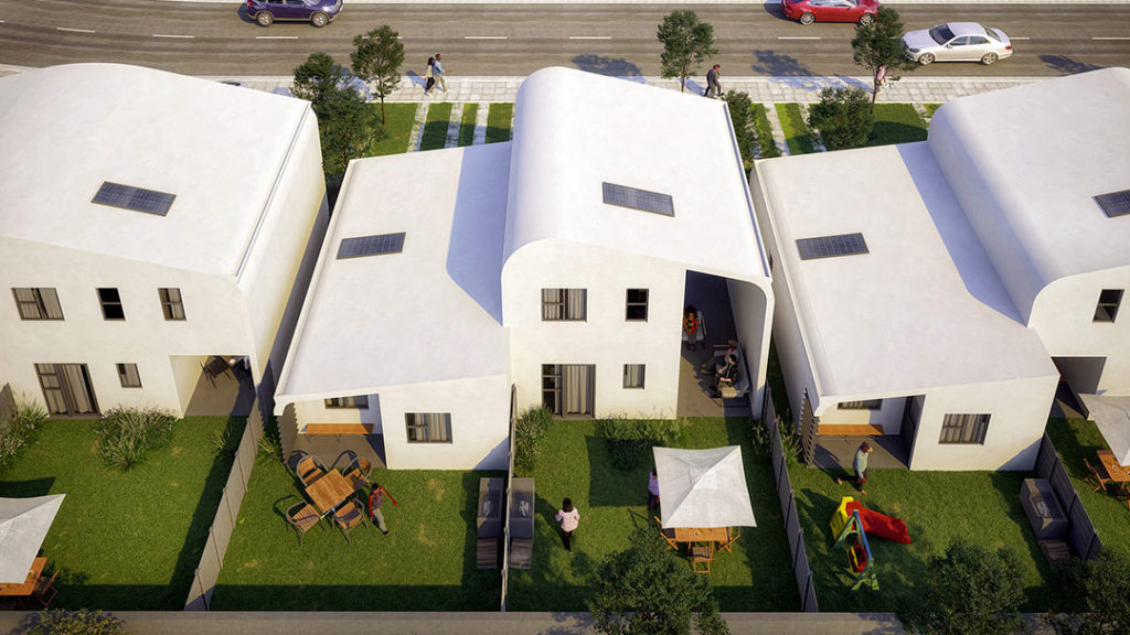 White abstract homes with an interesting curved design