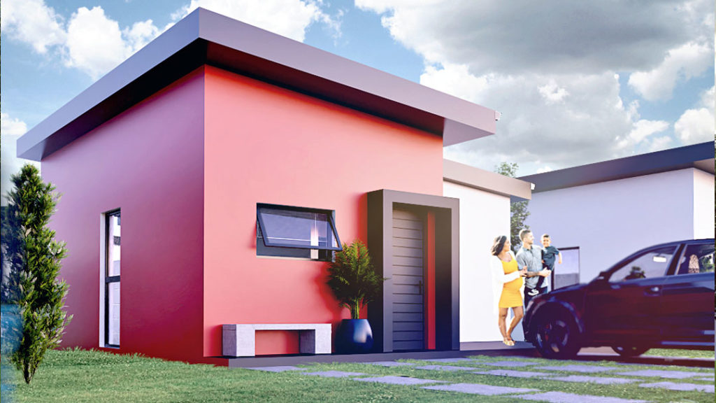 Small compact home with red walls
