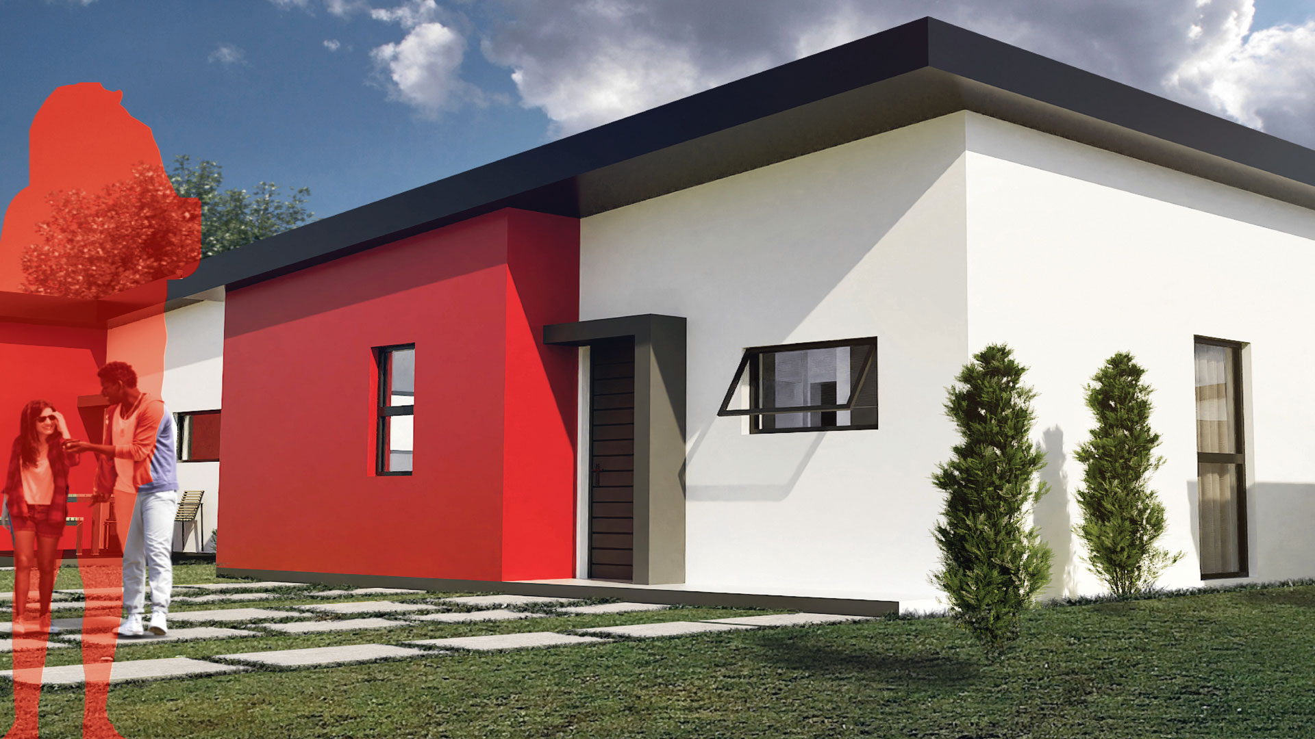White home with red walls